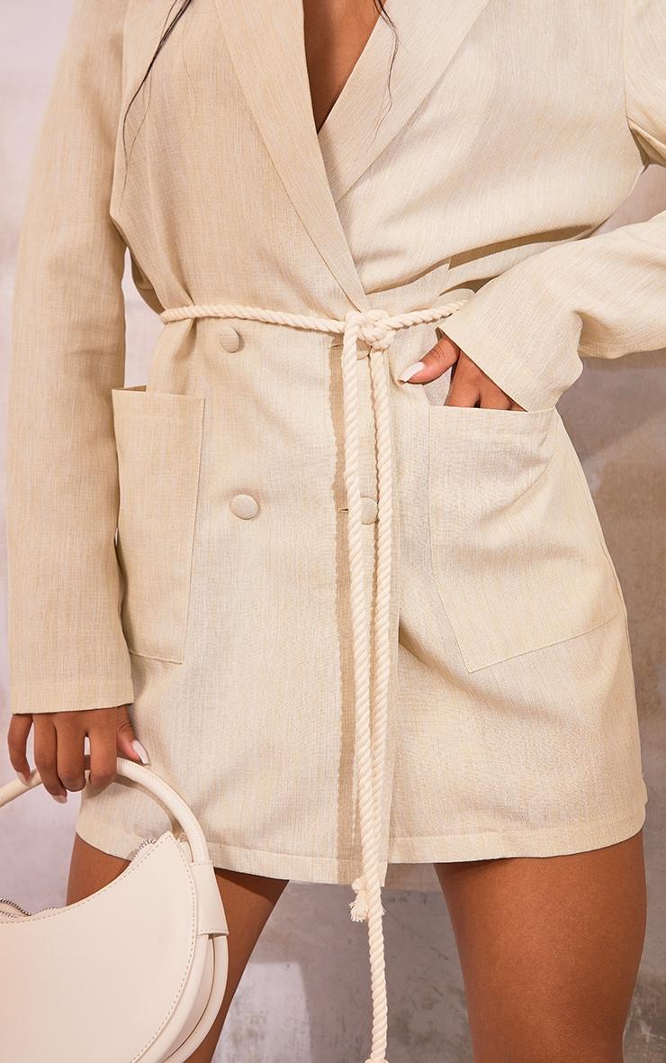 Nude Linen Look Rope Tie Waist Blazer Dress image 4