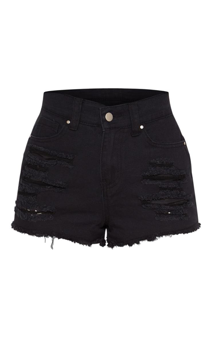 Petite Black  Bum Rip Denim Shorts 3