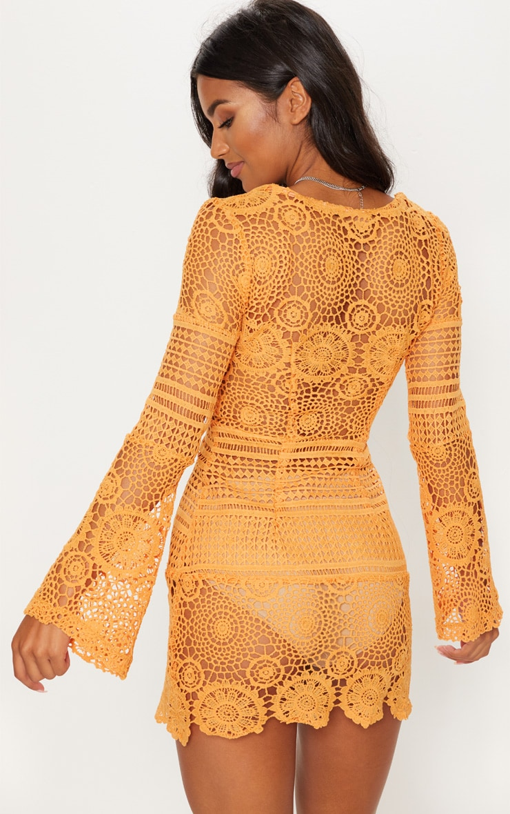Tangerine Tie Front Flare Sleeve Crochet Lace Bodycon Dress 2