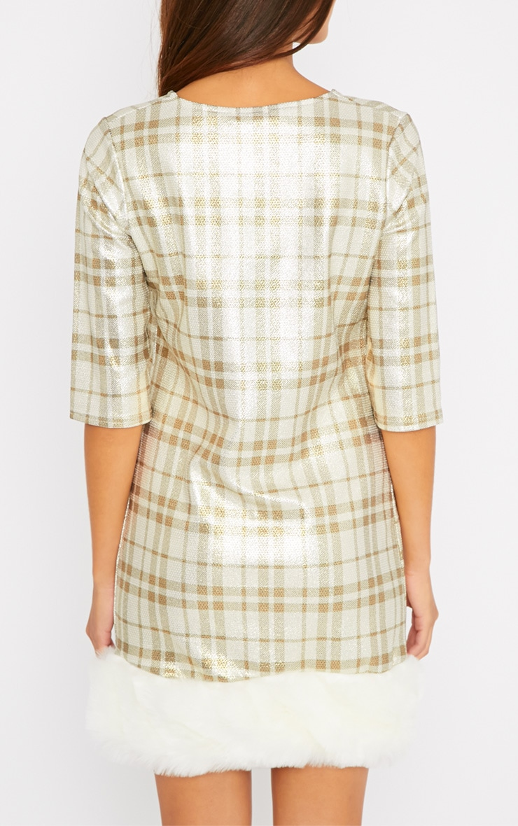 Kyla Gold Checked Fur Trim Dress 2