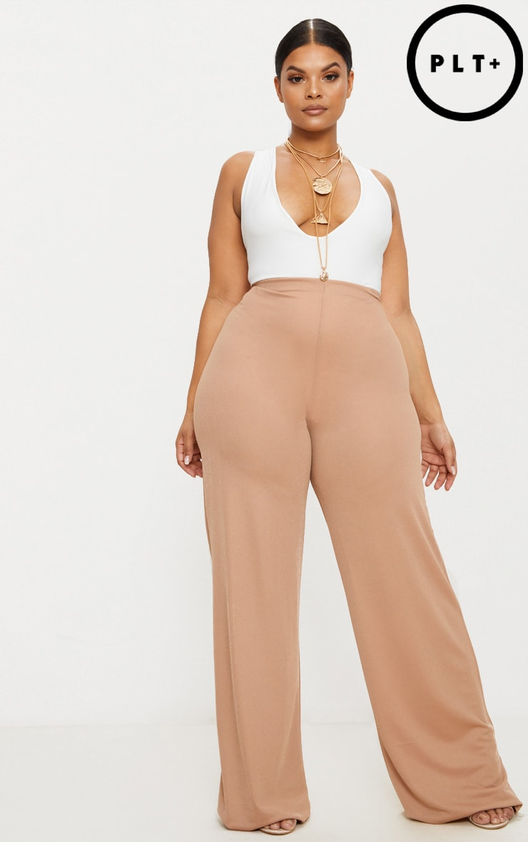 Plus Camel High Waisted Wide Leg Trousers 1