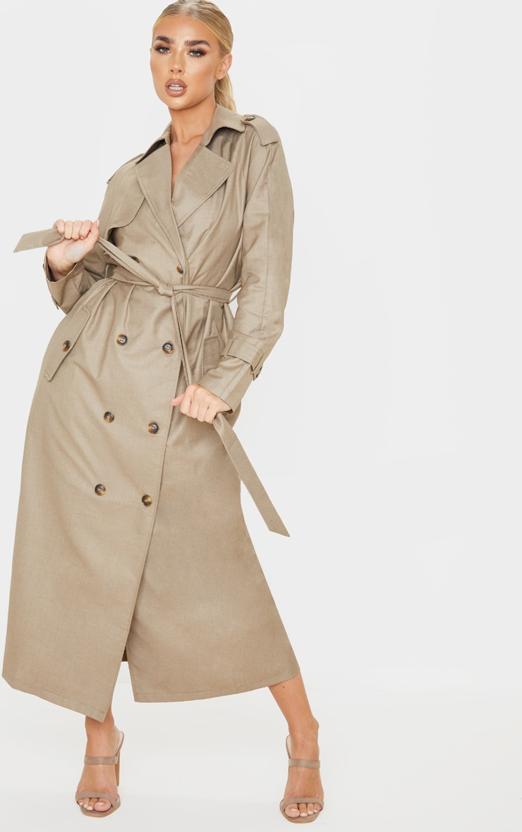 Stone Woven Oversized Trench Coat 1