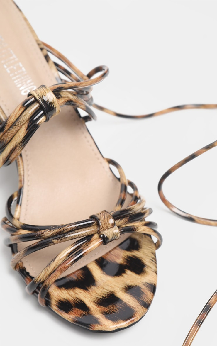 Leopard Strappy Lace Up Block Heel Sandal 3