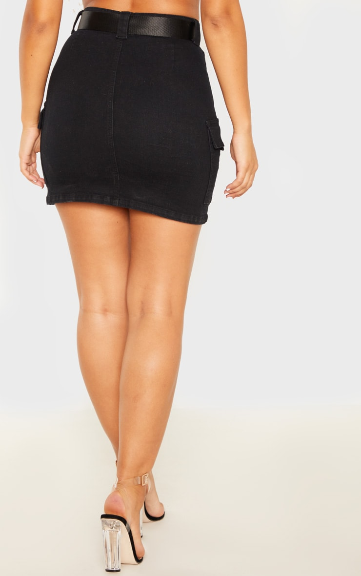 Black Cargo Pocket Belted Denim Skirt 4