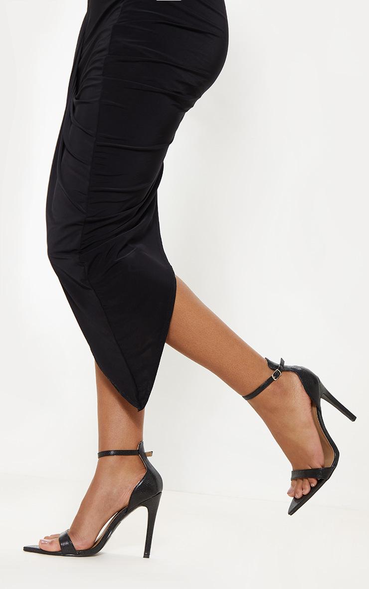 Black Snake Point Toe Strappy Sandal 2