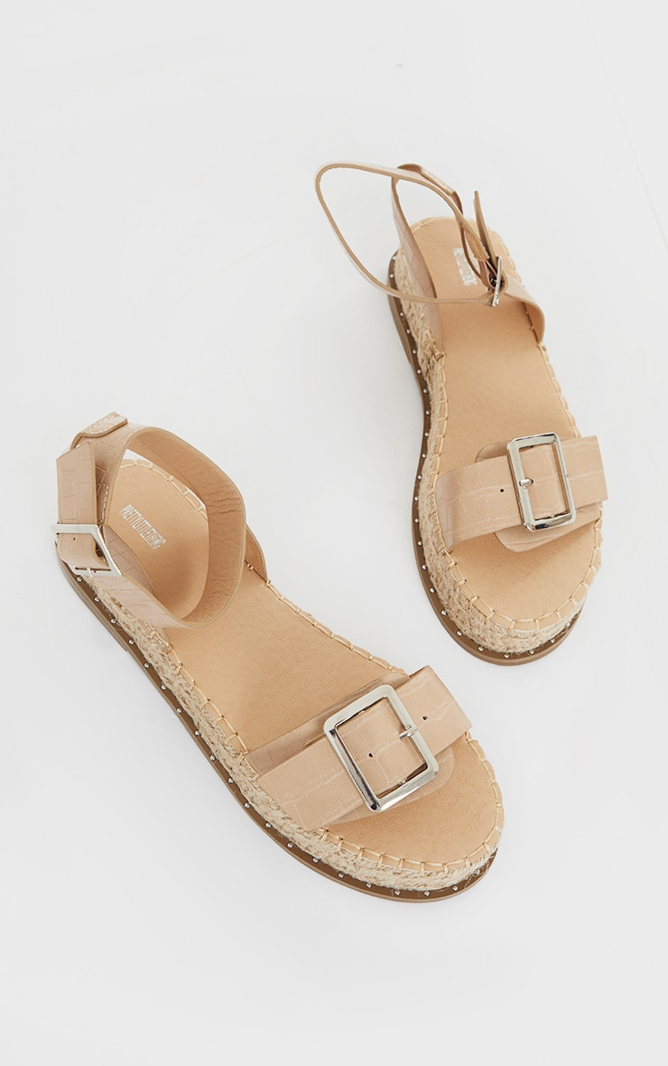 Nude PU Croc Buckle Detail Espadrille Sandals 4