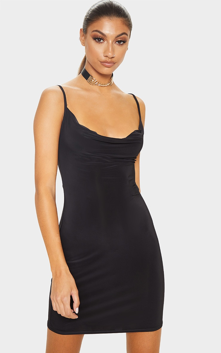 Tall Black Slinky Cowl Neck Dress 1