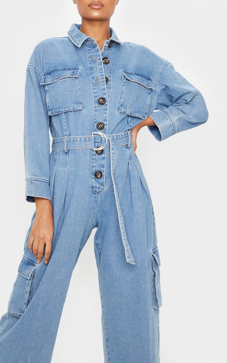 Mid Wash Oversized Cropped Denim Boilersuit 5