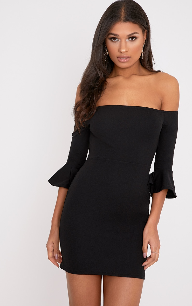 Lillianna Black Bardot Frill Cuff Bodycon Dress  1