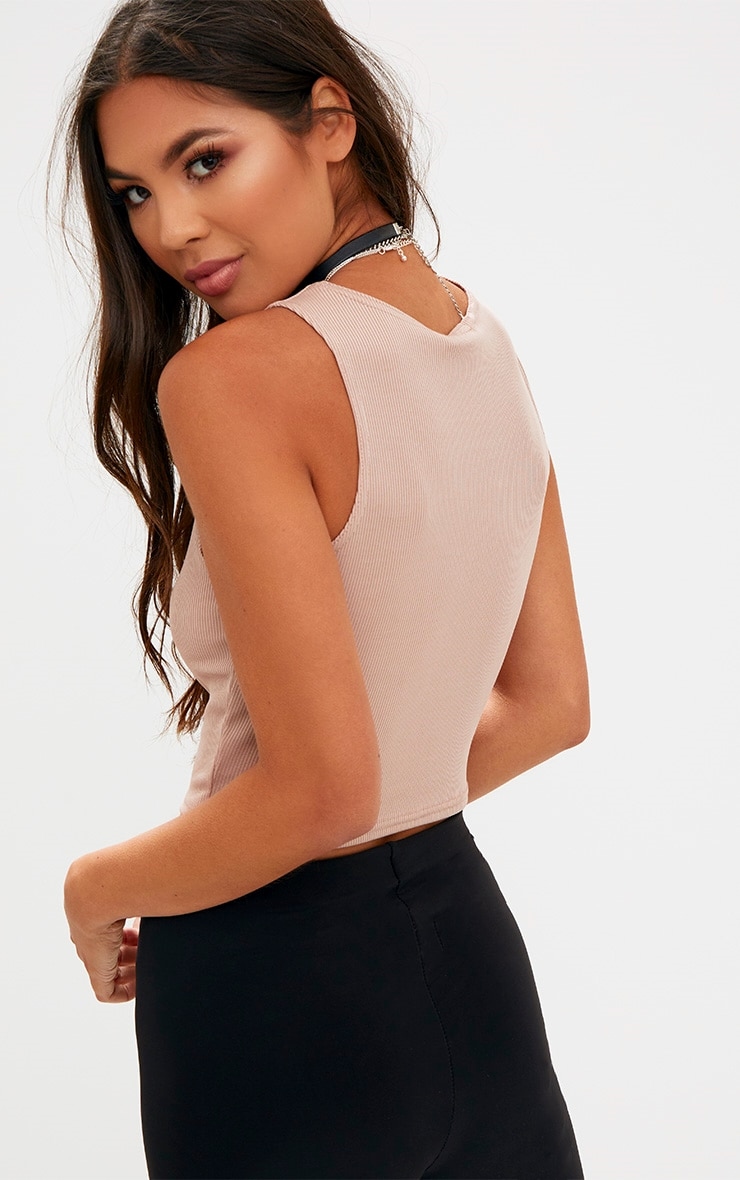 Stone Lace Up Ribbed Crop Top 2