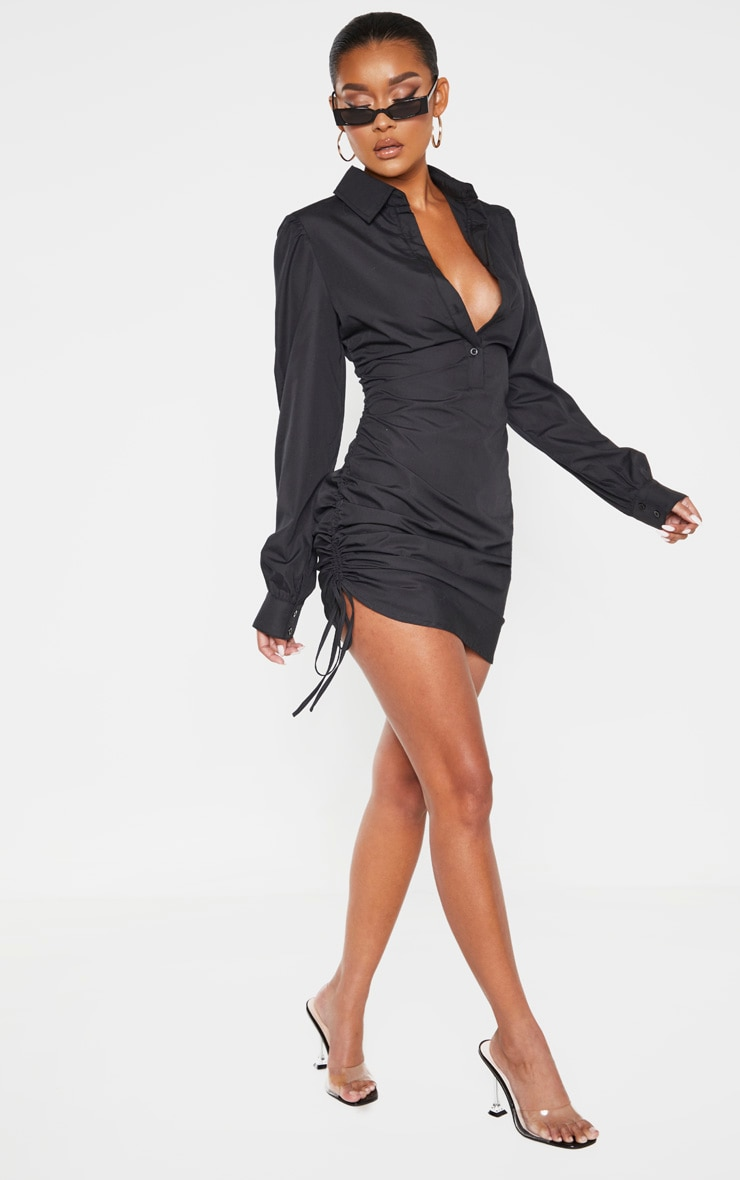 Black Ruched Side Fitted Shirt Dress 4