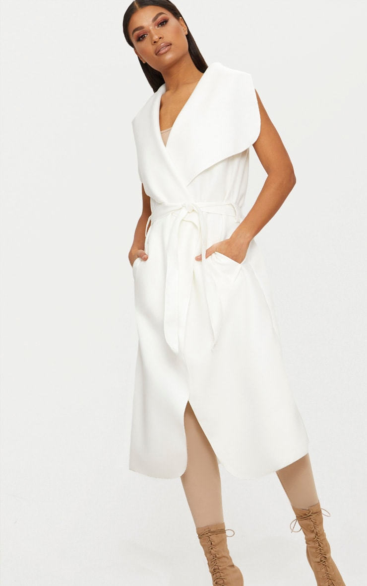 White Sleeveless Waterfall Coat Belted Coat 1