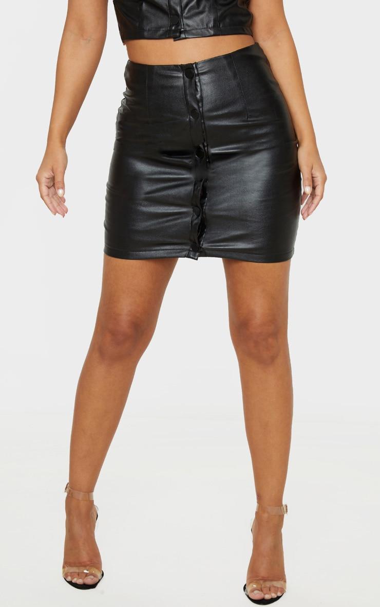 Petite Black PU Button Up Skirt 2