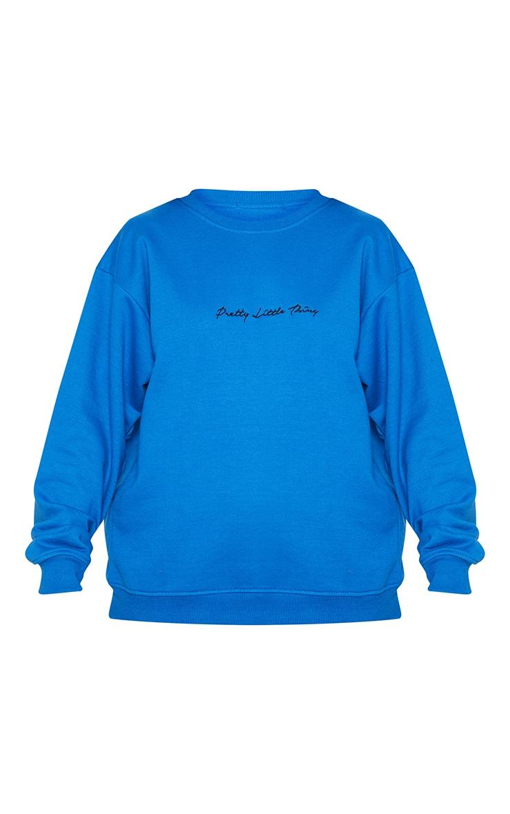 PRETTYLITTLETHING Cobalt Embroidered Oversized Sweatshirt 3