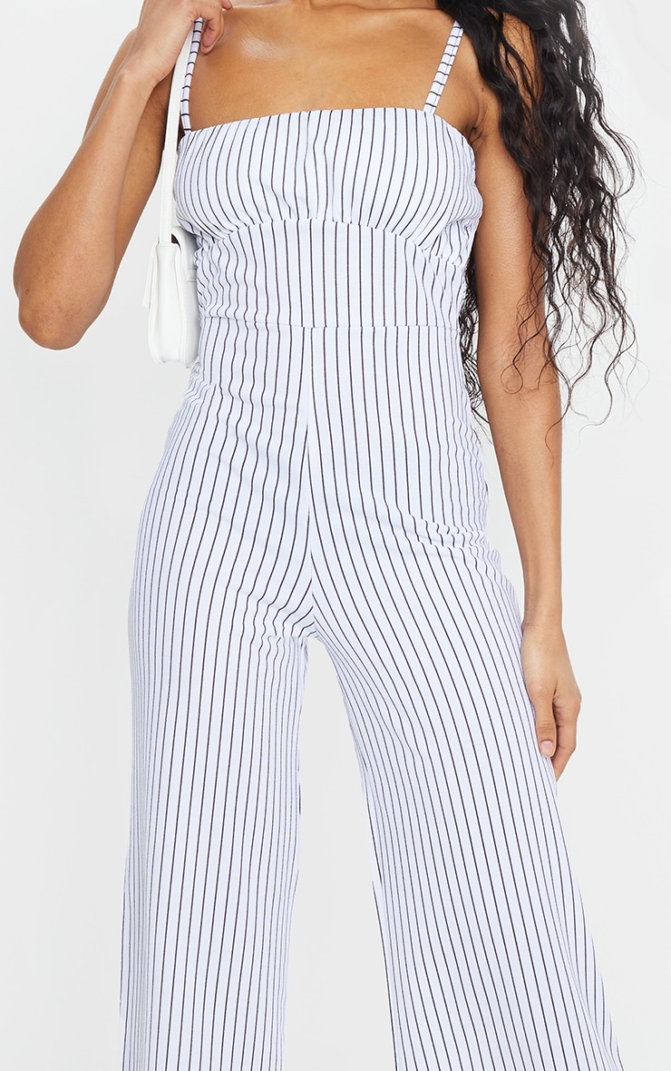 White Pinstripe Ruched Bust Strappy Culotte Jumpsuit 4