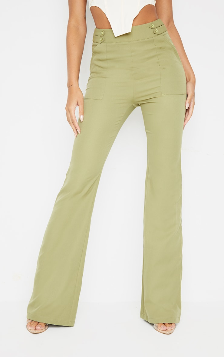 Sage Green Woven Double Button Detail Wide Leg Trousers 2