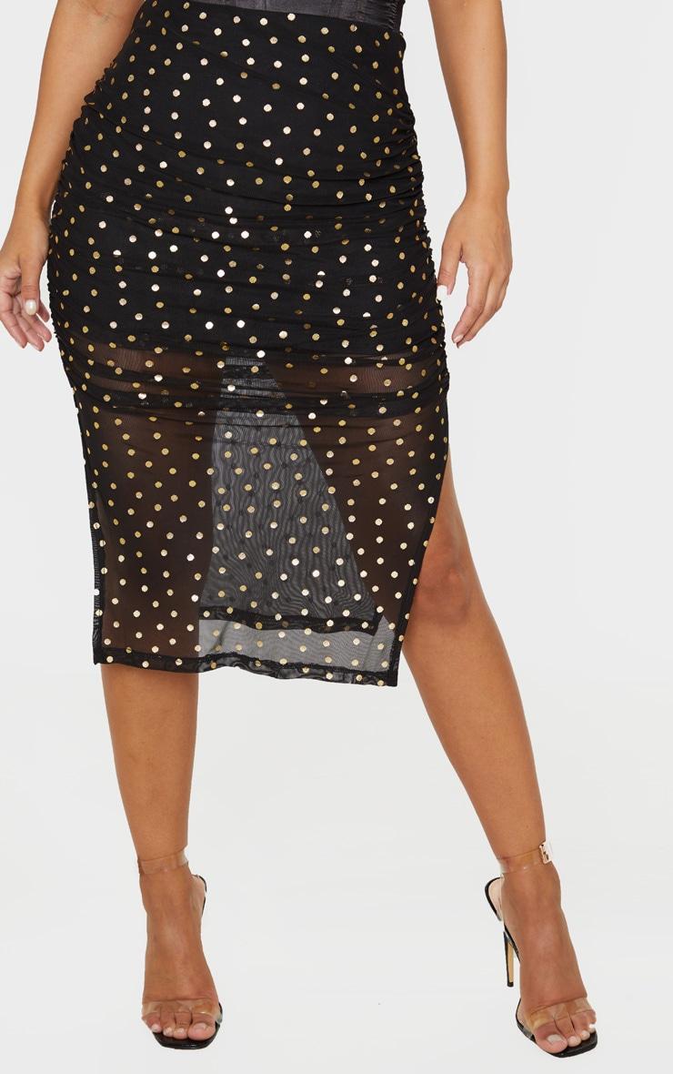 Petite Black Polka Dot Ruched Side Midi Skirt  2