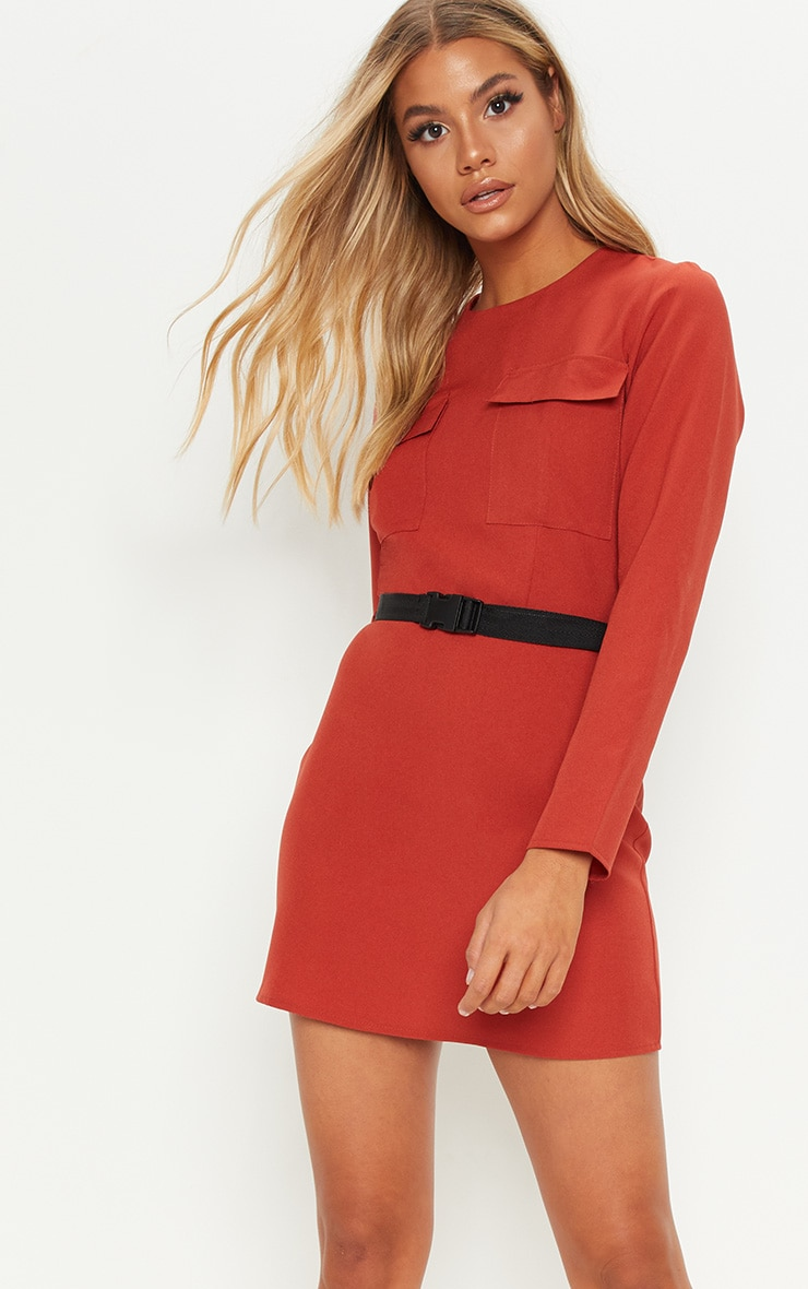 Rust Utility Belted Shift Dress 1