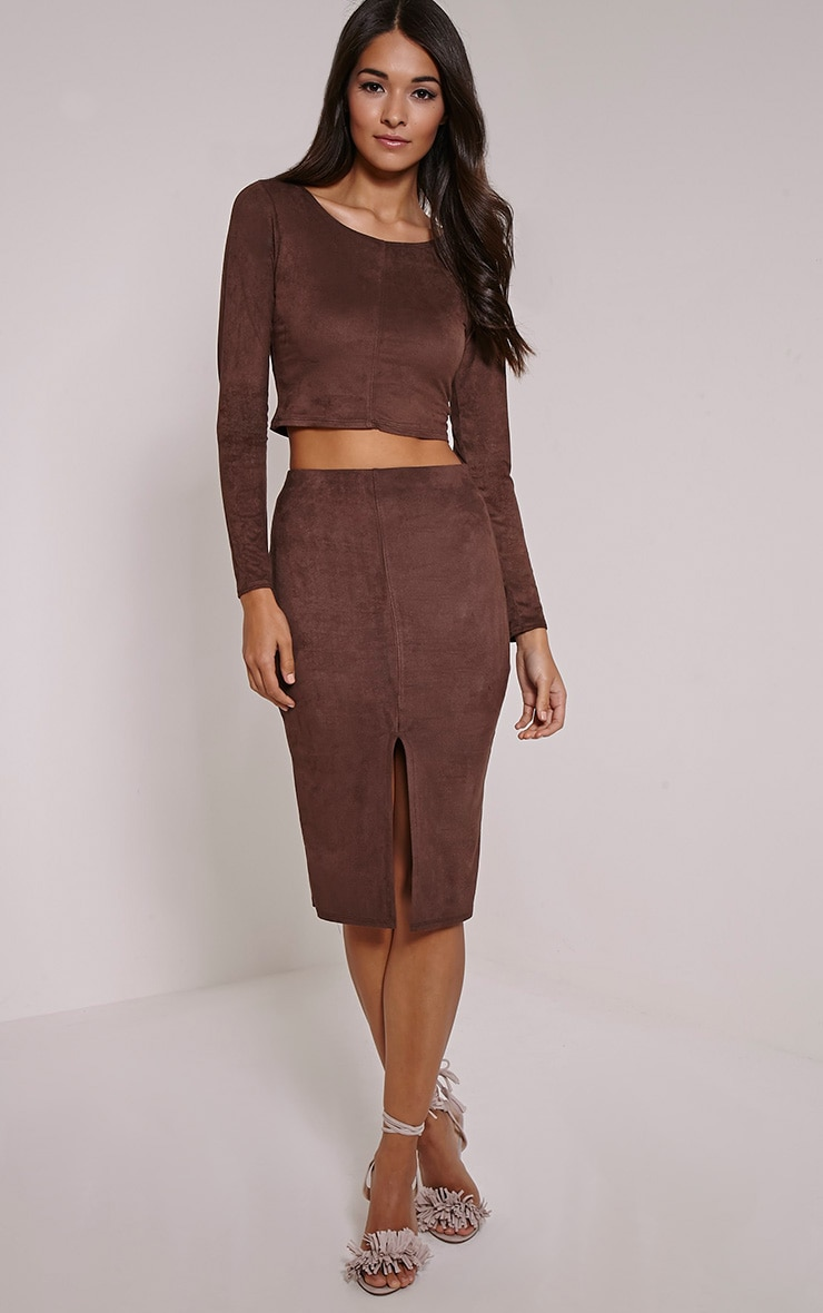 Danika Chocolate Faux Suede Seam Detail Midi Skirt 1