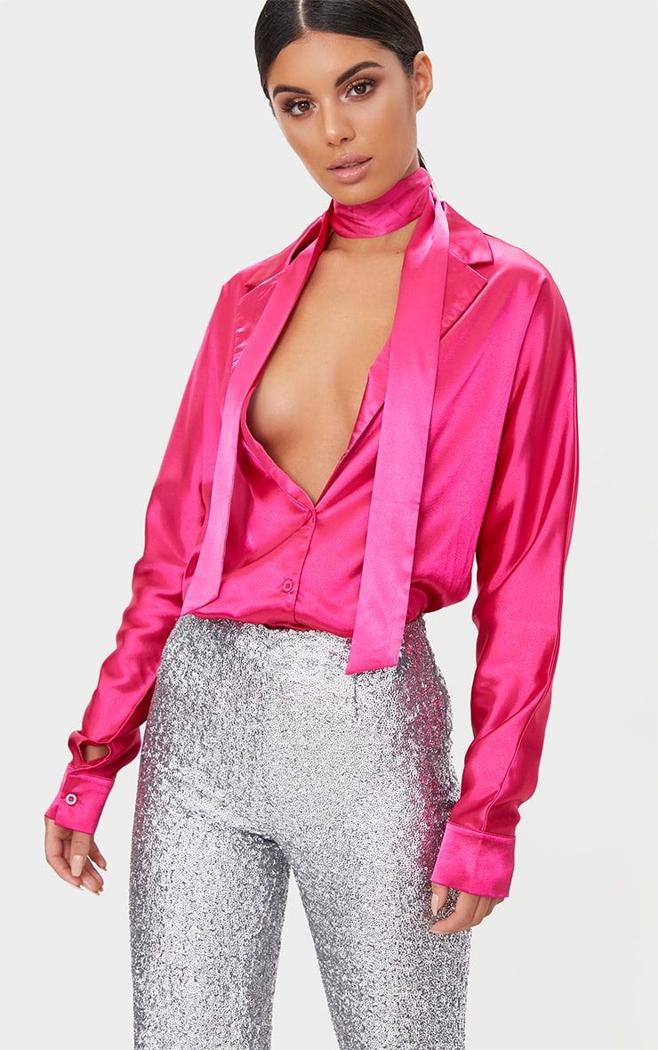 Hot Pink Satin Choker Button Front Shirt  1