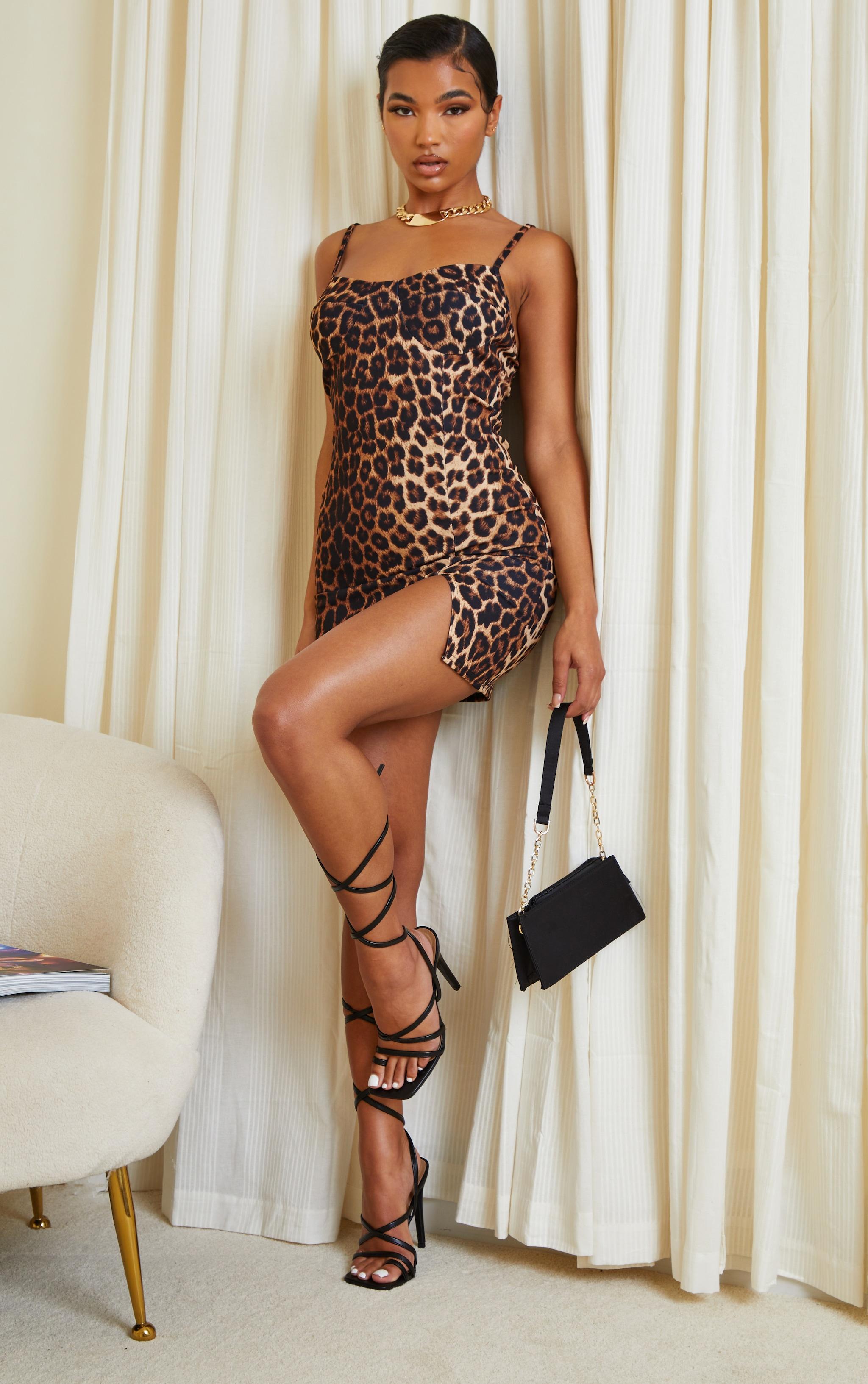 Tan Leopard Print Strappy Cup Detail Split Hem Bodycon Dress 3