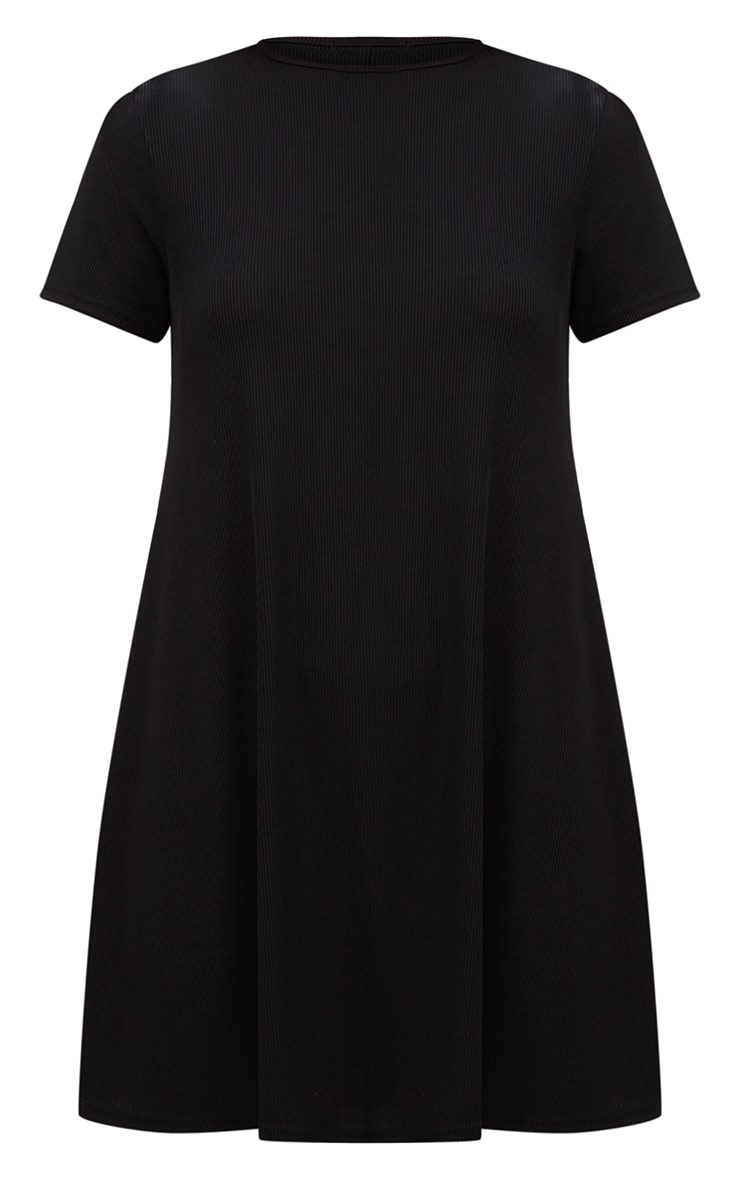 Black Ribbed Cap Sleeve Swing Dress 3