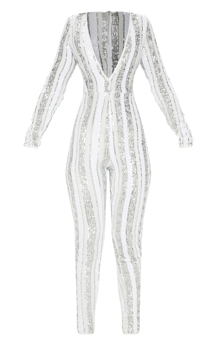 Silver Sequin Stripe Mesh Long Sleeve Jumpsuit 3