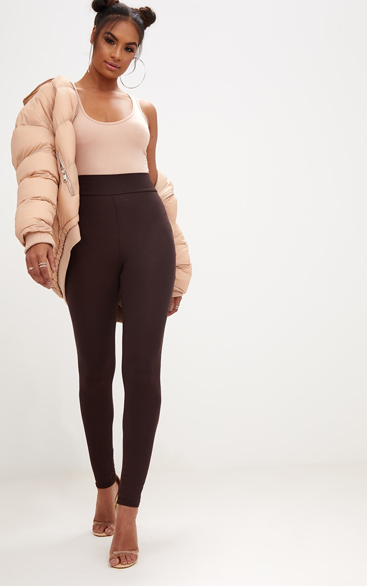 Chocolate Brown High Waisted Jersey Leggings 1