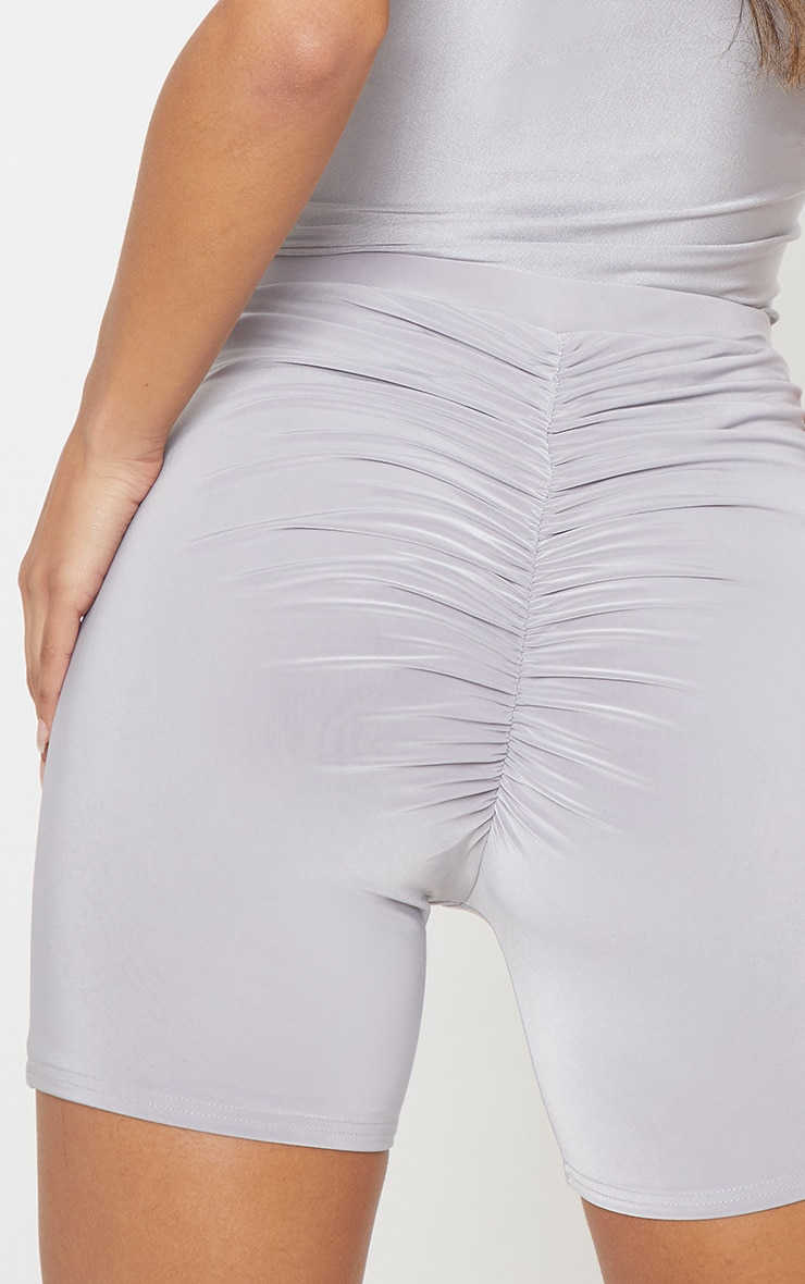 Silver Grey Slinky Ruched Bum Cycle Short 6