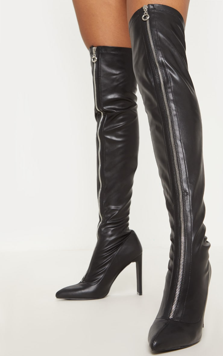 Black PU Zip Front Flat Heel Knee Boot 2