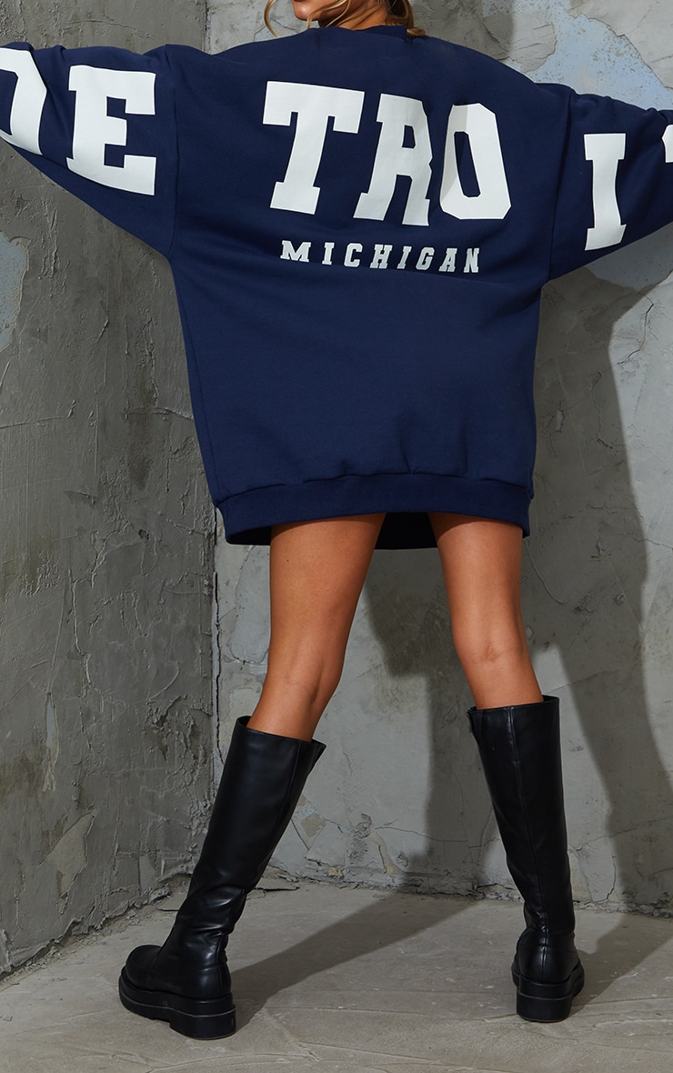 Navy Detroit Michigan Slogan Sweat Jumper Dress 4