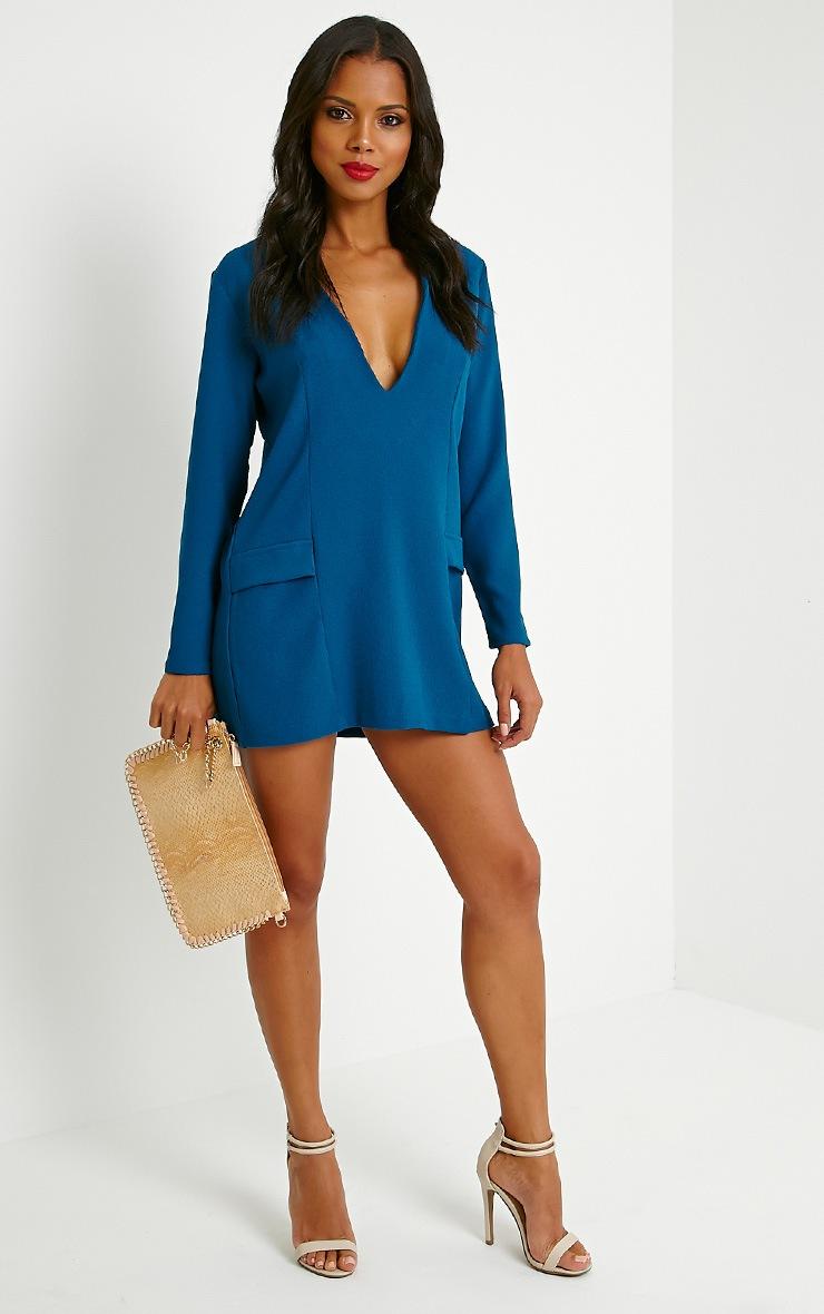 Jemima Teal Loose Fit Blazer Dress 4