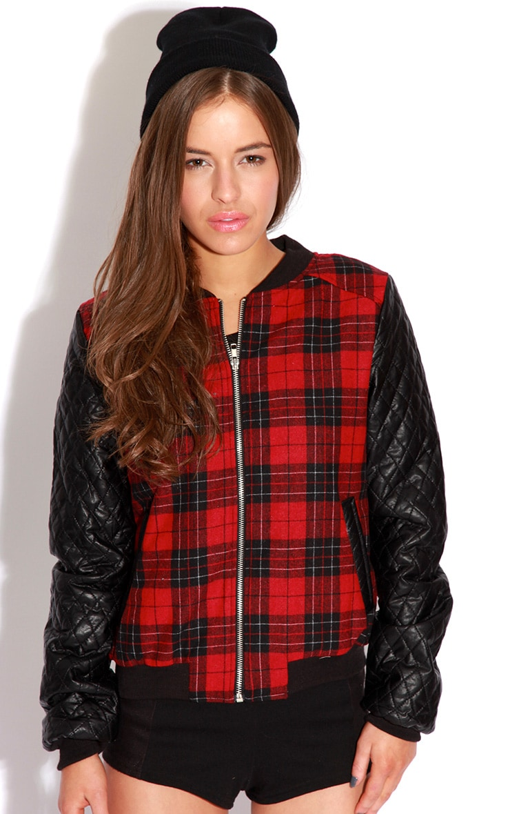 Allana Tartan Print Bomber Jacket With Leather Padded Sleev 5