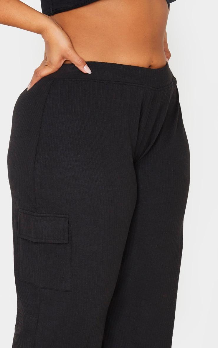 Plus Black Rib Pocket Detail Wide Leg Pants 6