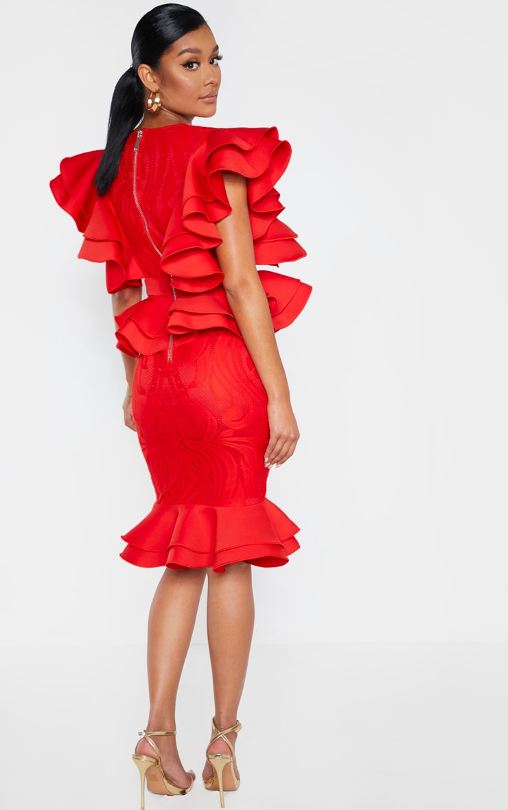Red Ruffle Detail Plunge Midi Dress 2