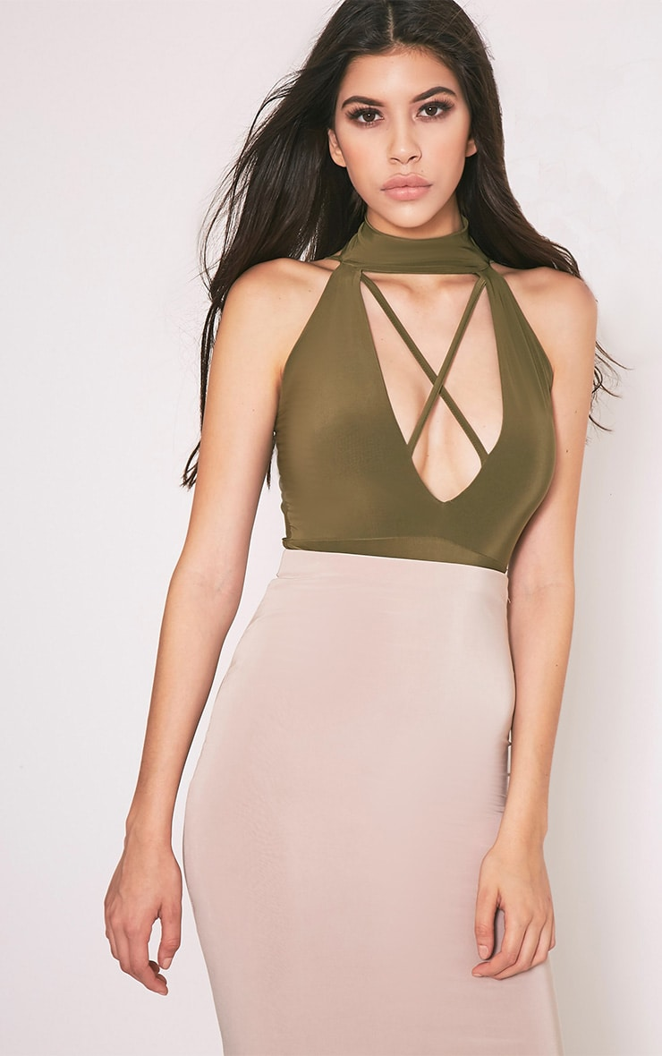 Sindy Khaki Choker Criss Cross Deep V Thong Bodysuit 1