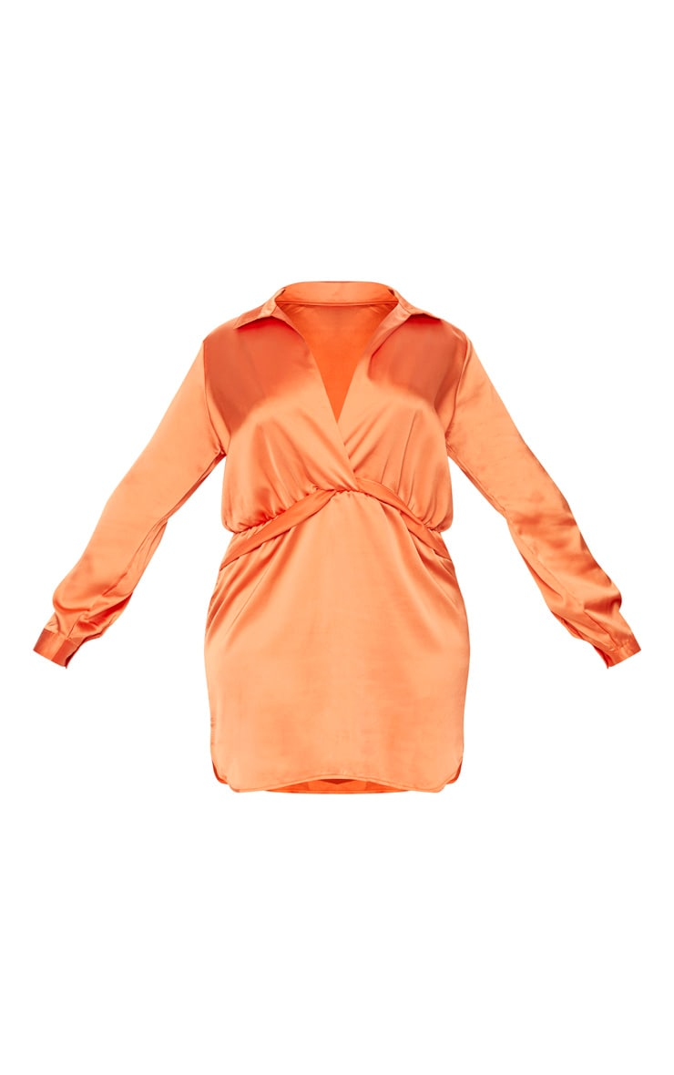 Plus Orange Twist Front Silky Shirt Dress 3