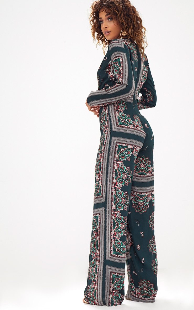 Forest Green Scarf Print Long Sleeve Plunge Jumpsuit 2