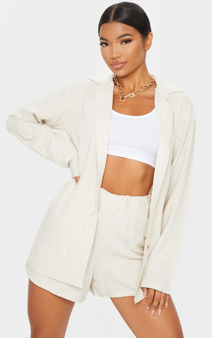 Stone Oversized Linen Feel Shirt 1
