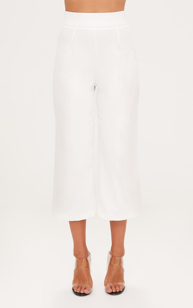 White High Waisted Scuba Culottes  2