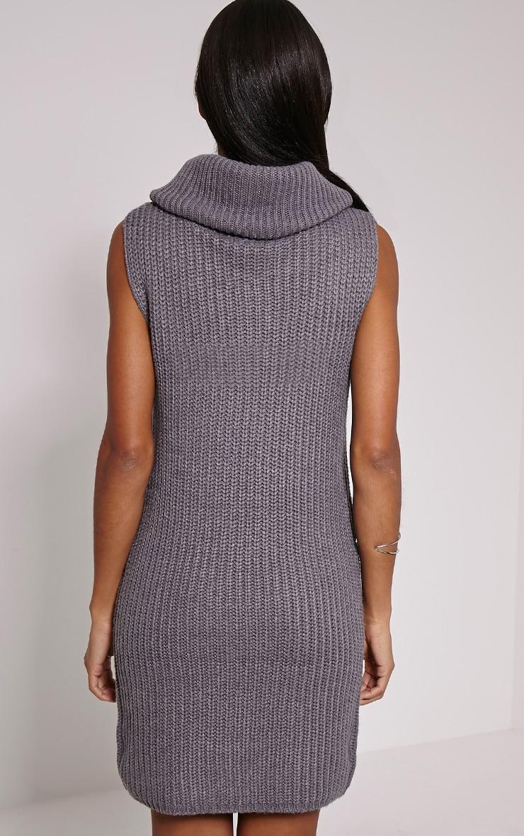 Jossy Grey Knitted Roll Neck Dress 2