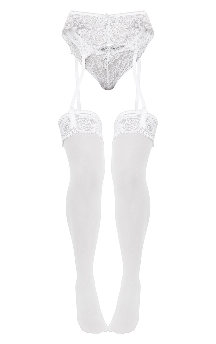 White Suspender, Hold Up & Knickers Set 5