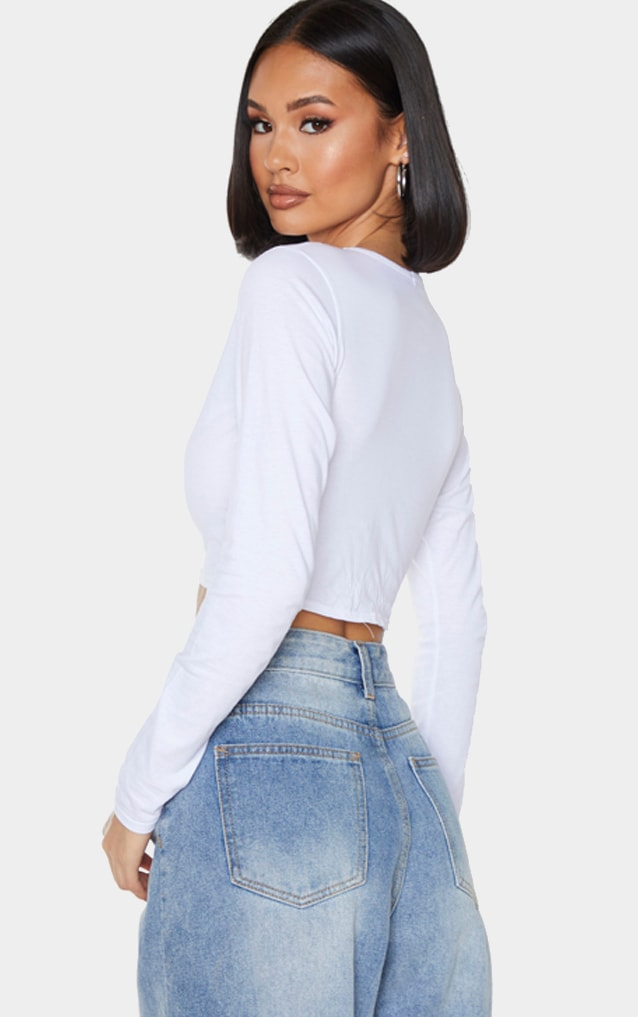 White Jersey Slashed Neck Long Sleeve Crop Top 2