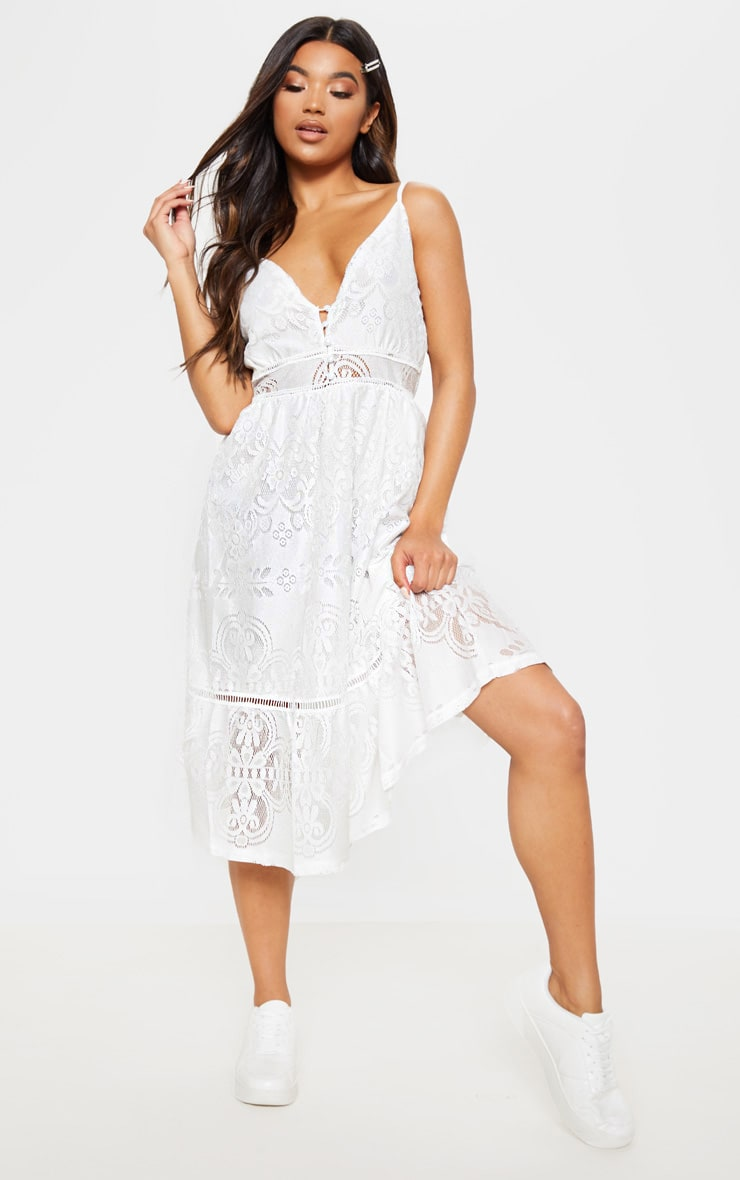 White Lace Button Through Midi Dress 1