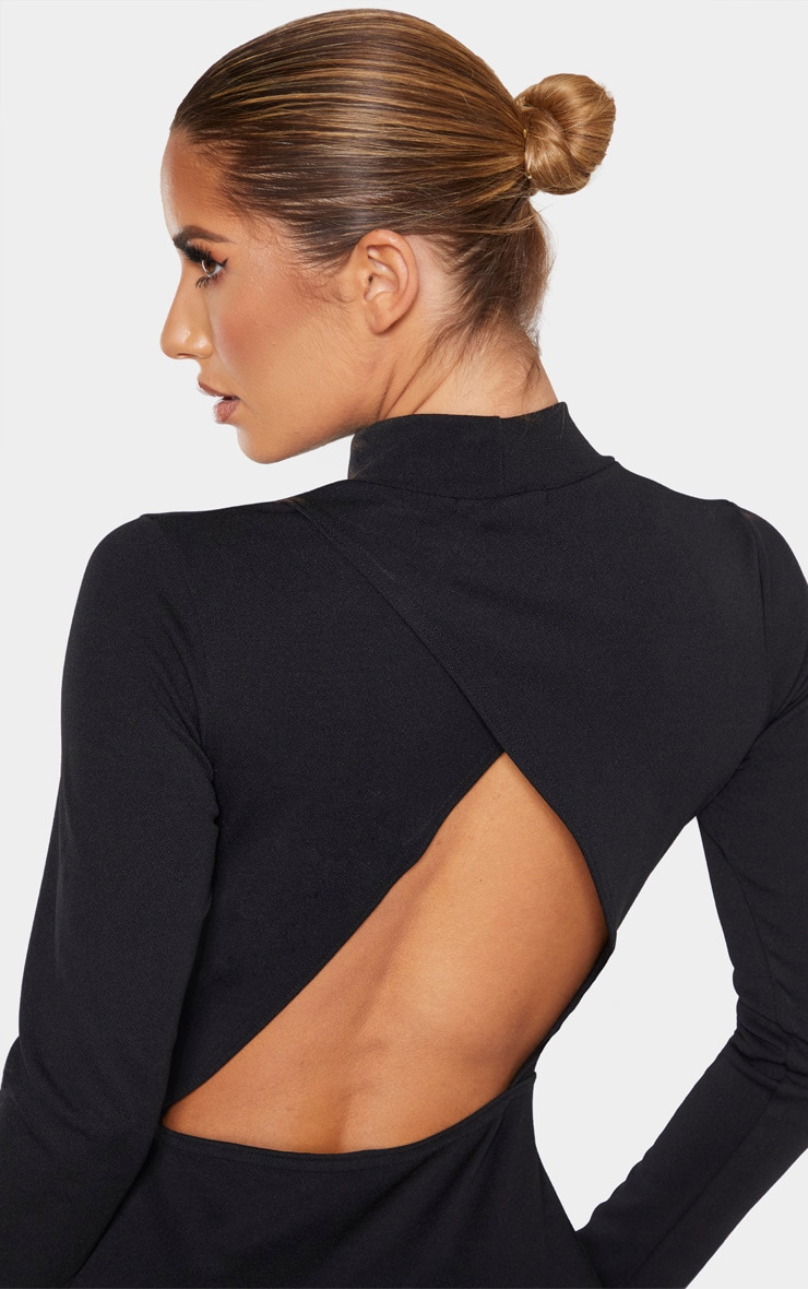 Black Long Sleeve High Neck Cut Out Bodycon Dress 5