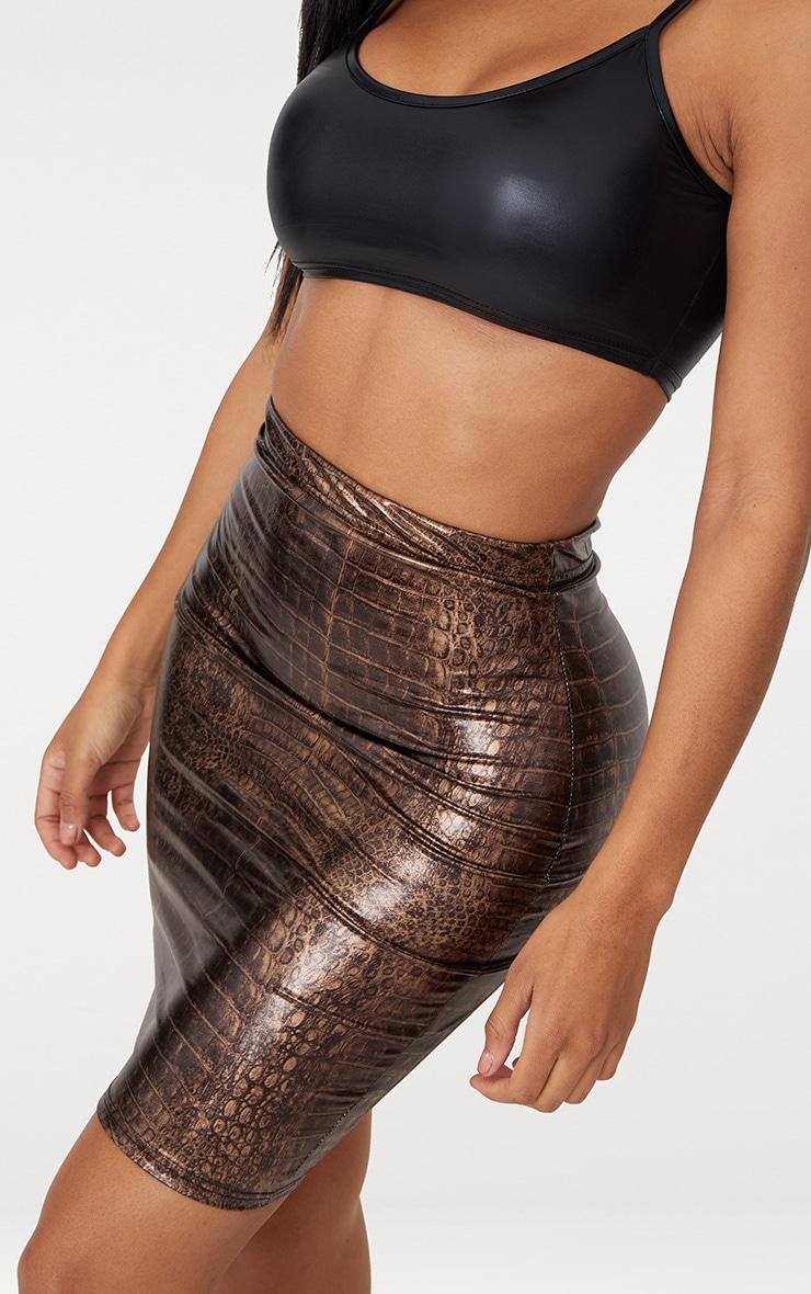 Shape Brown Snake Effect Bodycon Skirt 5