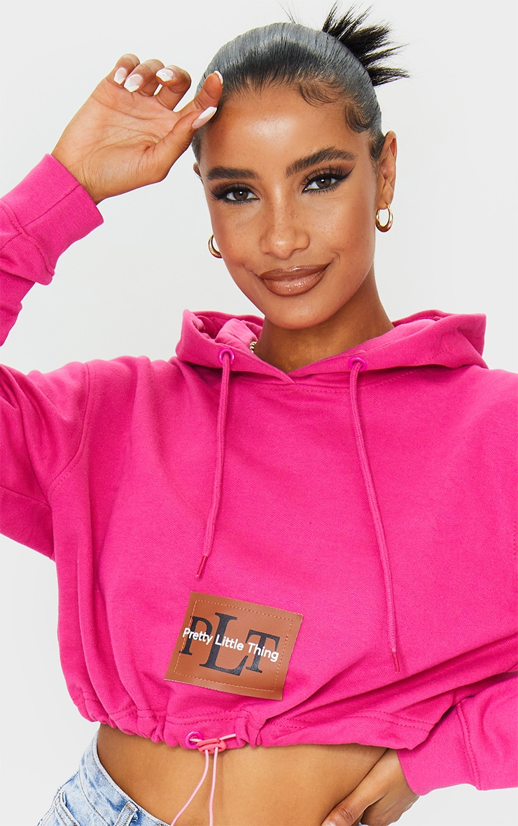 PRETTYLITTLETHING Hot Pink Pocket Toggle Crop Hoodie 4