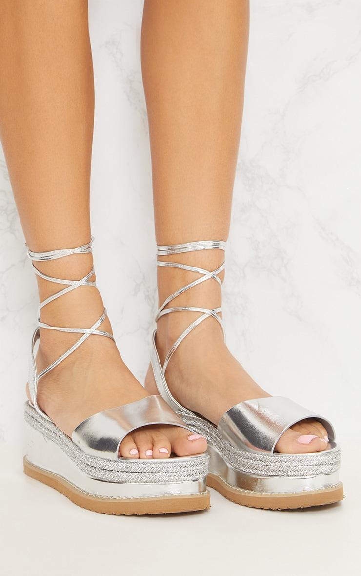 Sandales espadrilles argentées à talon plateforme 5