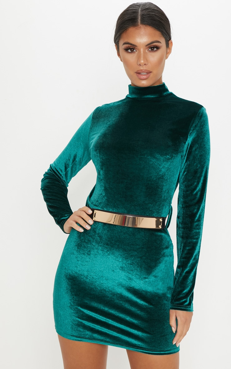 Emerald Green Velvet High Neck Belted Bodycon Dress 4