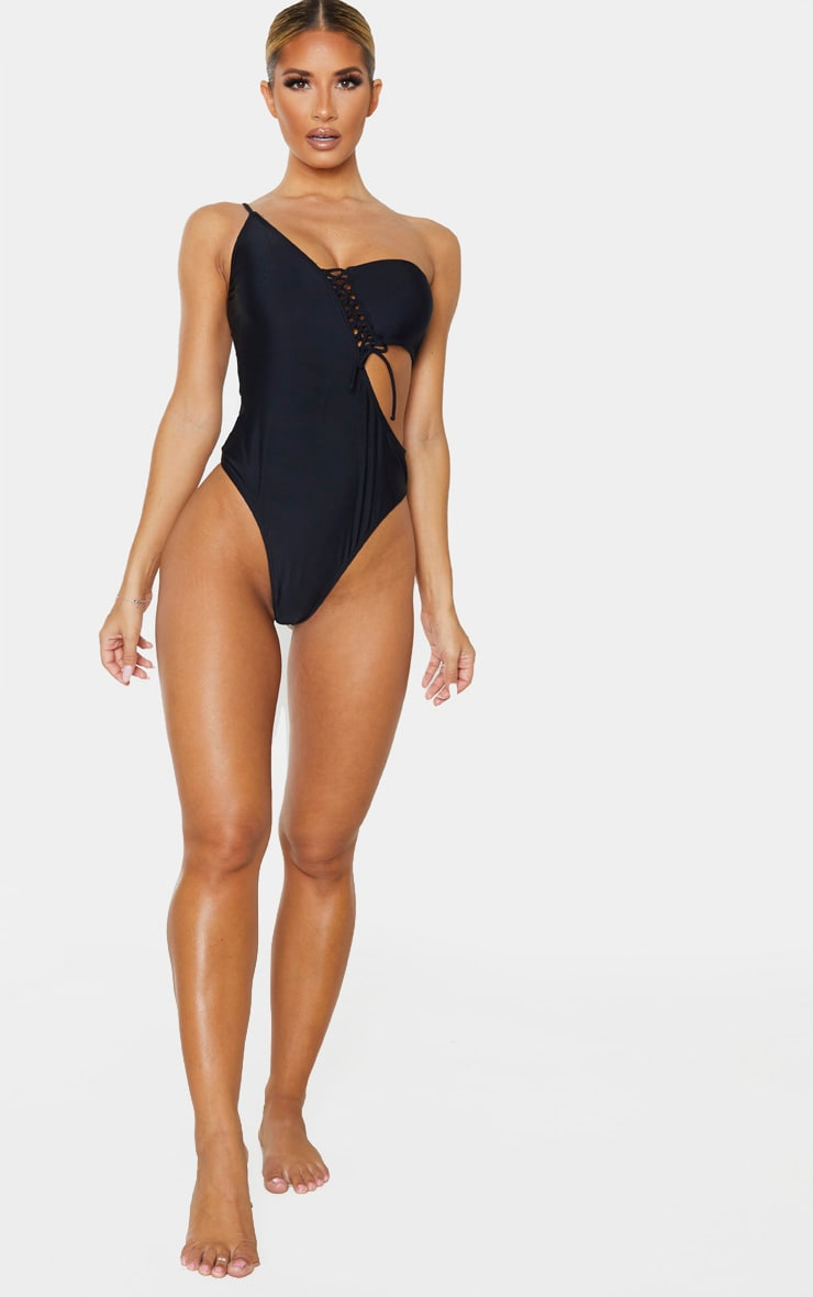 Black Lace Up Asymmetric Swimsuit 5